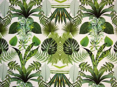 Jungle Leaves White Green T224  Sample