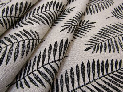Sparkly Palm Leaves Linen Black T280