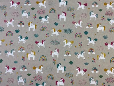 Rainbow Unicorns Linen T292