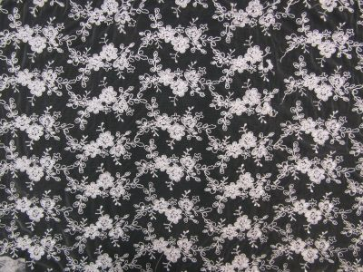 Floral Corded Mesh White Tex Ex 1752