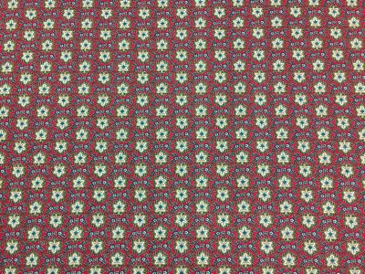 Clover Floral Cotton Red Gold Tex Ex 1827