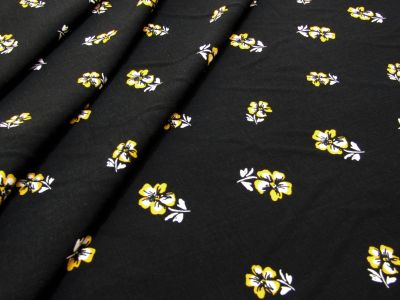 Yellow Daisy Viscose Black Tex Ex 2081