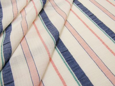 Retro Stripe Georgette White Coral Blue Tex Ex 2083