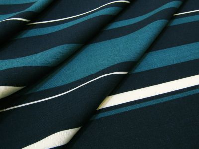 Sailor Stripe Viscose Navy Teal Tex Ex 2091