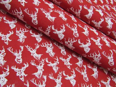 Glitter Stag Head Red Tex Ex 2177