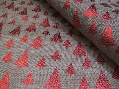 Metallic Christmas Tree Hessian Red Linen Tex Ex 2182