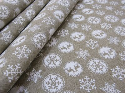 Railroad Deer and Snowflake Linen Tex Ex 2184