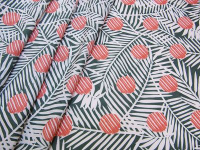 Spotty Palms Javanaise Viscose Green Coral Tex Ex 2227