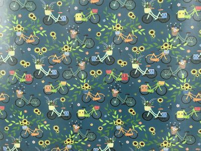 Bicycle Laminated Cotton Teal 2236