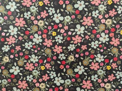 Wild Flower Laminated Cotton Midnight 2237