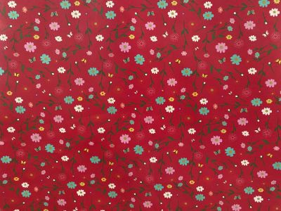 Butterfly Flowers Laminated Cotton Red 2240