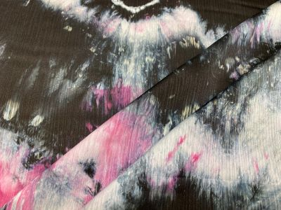 Tye Dye Chiffon Black Grey Purple U140