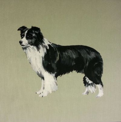 Collie Velvet Mizzle Green Dog Cushion Panel