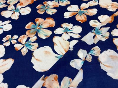 Watercolour Flower Javanaise Viscose Navy Tex Ex 2232