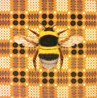 Velvet Bumblebee Vintage Welsh Blanket Cushion Panel Gold