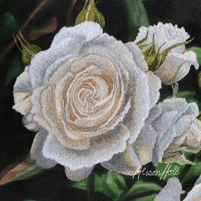 Alison Holt White Rose Cotton Velvet Cushion Panel