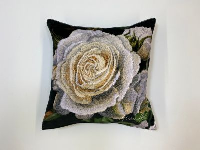 Alison Holt White Rose Cotton Velvet Cushion