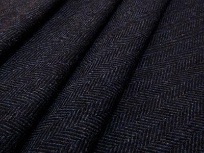Moon Wick Herringbone Wool Midnight