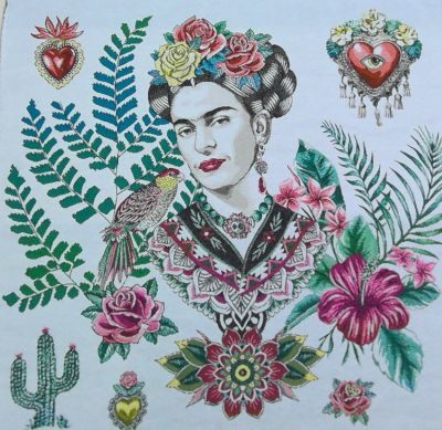 French Woven Tropical Frida Cushion Panel White