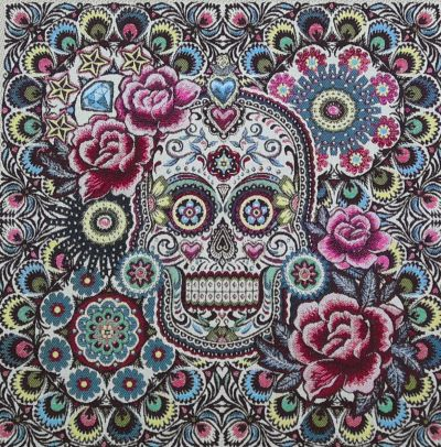 French Woven Tropical Skull Cushion Panel