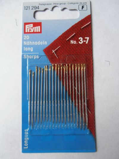Prym Long Sharps Sewing Needles Pack of 20 No 3-7