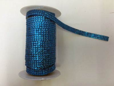 3-Row Iron On Rhinestones Blue