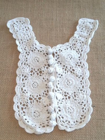 Pom Pom Button Crochet Applique White