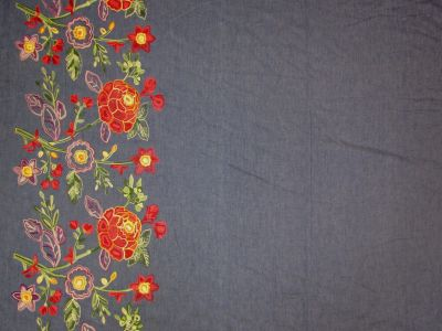 Embroidered Border Rose Denim B108