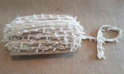 Beaded Crochet Trim Cream