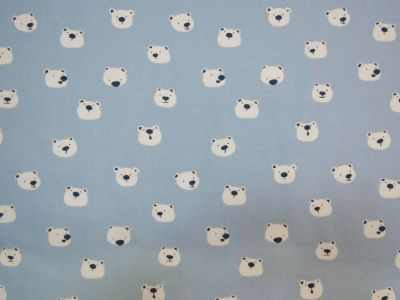 Brushed Cotton Bears Blue White D75