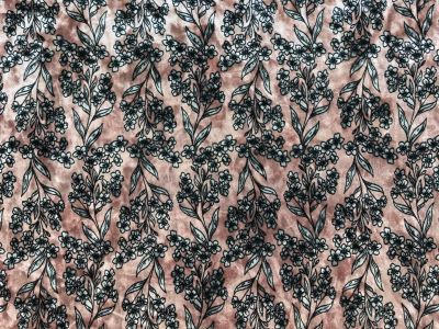 Floral Stretch Velour Pink C204