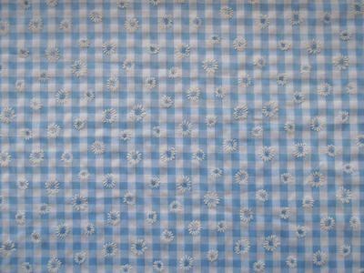 Daisy Gingham Check Polycotton Pale Light Blue