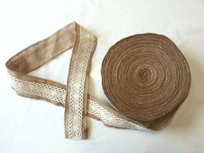 Narrow Lace and Hessian Ribbon 4cm