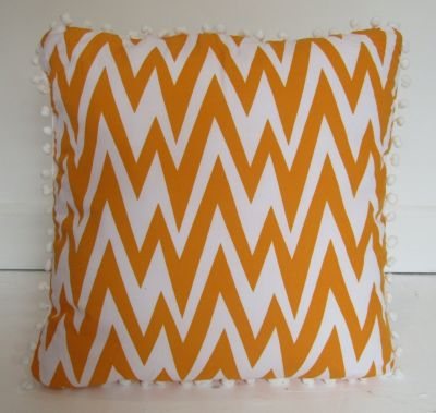 Pom Pom Chevron Cushion Cover Mustard