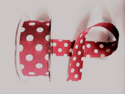 Polka Dot Faux Burlap Red 008