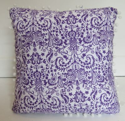 Pom Pom Cushion Cover Purple