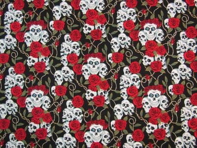 Skulls and Roses Black/Red I77