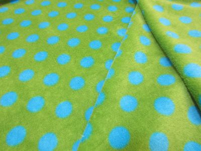 Spotty Cuddle Fleece Lime Blue I48