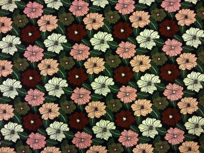 Sculptured Flower Garden Black Multi Tex Ex 1439